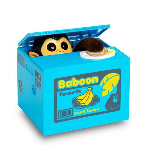 Coin Stealing Monkey Money Box (Size 12x10x9cm) - 2xAA Batteries not included