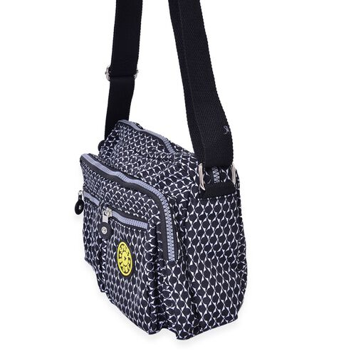 Black and White Colour Multi Pocket Waterproof Crossbody Bag with Adjustable Shoulder Strap (Size 27X18X9 Cm)