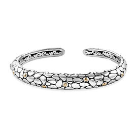 Royal Bali 6.5 Inch Handmade Pebble Cuff Bangle in 18K Gold and Sterling Silver 31 Grams