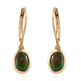 AA Canadian Ammolite (Ovl) Lever Back Earrings in 14K Gold Overlay Sterling Silver
