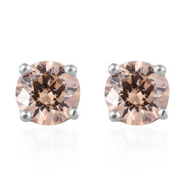 J Francis - Platinum Overlay Sterling Silver (Rnd) Stud Earrings (with Push Back) Made with Champang