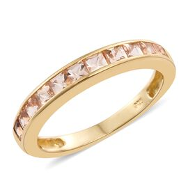Limited Edition- Princess Cut Imperial Topaz Half Eternity Band Ring in 14K Gold Overlay Sterling Silver 1.250 Ct.