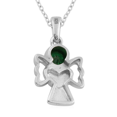 Simulated Emerald Pendant With Chain (Size 20) in Yellow Gold and Platinum Overlay Sterling Silver