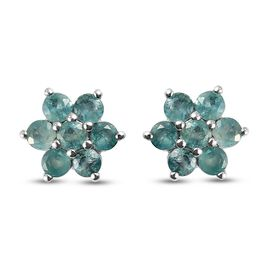 Grandidierite Floral Stud Earrings (with Push Back) in Platinum Overlay Sterling Silver 1.030 Ct.