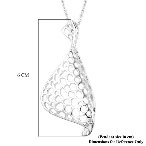 RACHEL GALLEY Lattice Collection - Rhodium Overlay Sterling Silver Lattice Pendant with Chain (Size 30), Silver wt 15.77 Gms