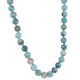 Peruvian Turquoise Necklace (Size 18 to 26) with Magnetic Lock in Rhodium Overlay Sterling Silver 23
