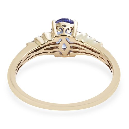9K Yellow Gold Tanzanite (Ovl 1.35 Ct), Diamond Ring 1.500 Ct.