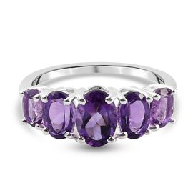 Amethyst 5-Stone Ring in Sterling Silver 2.13 Ct.
