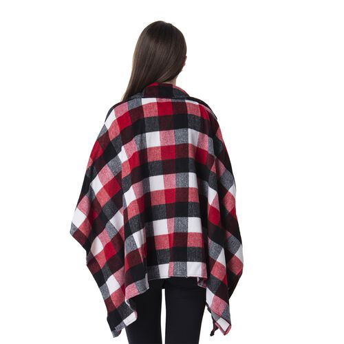 Wine Red ,Black and White Colour Plaid Pattern Cape (Size 116.5x67 Cm)