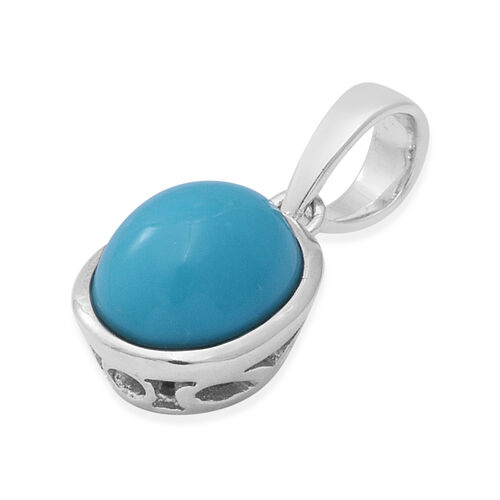 Arizona Sleeping Beauty Turquoise Solitaire Pendant in Rhodium Overlay Sterling Silver 1.60 Ct.