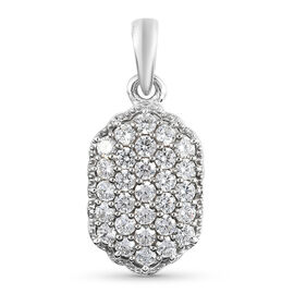 J Francis Platinum Overlay Sterling Silver Cluster Pendant Made with SWAROVSKI ZIRCONIA 1.49 Ct.