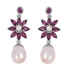 Fresh Water Pearl (Drop), Rhodolite Garnet Dangle Earrings (with Push Back) in Rhodium Overlay Sterling Silver