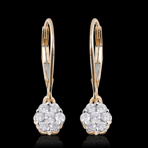 9K Yellow Gold SGL Certified Diamond (I3/GH) Pressure Set Floral Lever Back Earrings 0.50 Ct.