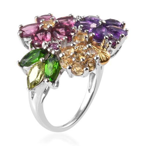 Amethyst (Pear), Rhodolite Garnet and Multi Gemstone Floral Ring in Platinum Overlay Sterling Silver 4.03 Ct.