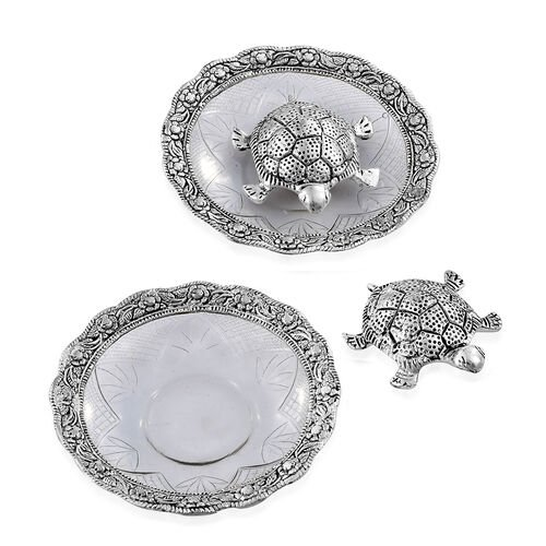 Set of 2 - Silver Finish Feng Shui Tortoise at Glass Plate (Size 13.97x13.97x2.54 Cm)