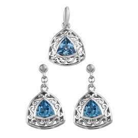 Blue Topaz (2.75 Ct) Platinum Overlay Sterling Silver 2 Pcs Earring and Pendant Set  2.750  Ct.