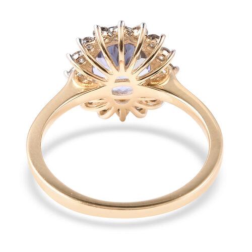 9K Yellow Gold Tanzanite and Diamond (I3/G-H) Ring 2.30 Ct.