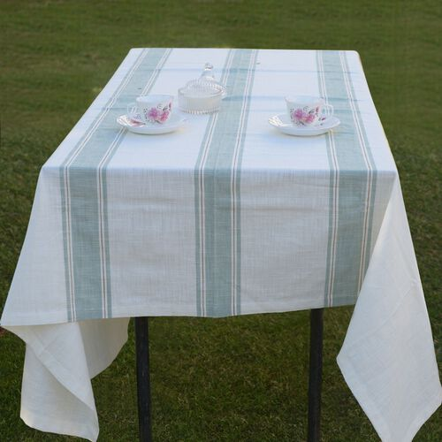100% Cotton Olive Green Colour Stripe Pattern White Colour Table Cover (Size 150x150 Cm)