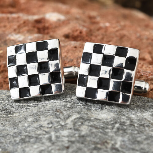 Platinum Overlay Sterling Silver Cufflink With Enameled