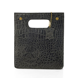 Super Chic 100% Genuine Leather Olive Black Colour Crocodile Embossed Structured Shopper Bag (Size 2