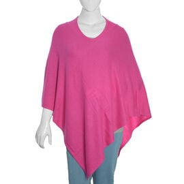 Limited Available - 100%  Cashmere Pashmina Wool Poncho - Fuschia (Free Size)