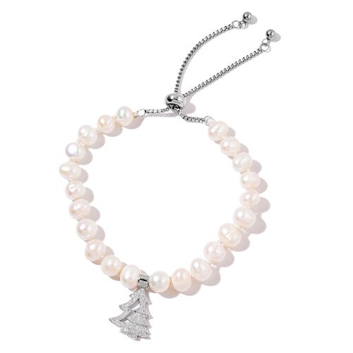 Fresh Water White Pearl (7-8mm), White Austrian Crystal Adjustable Bracelet (Size 6 - 8) with Christmas Tree Charm in Silver Tone