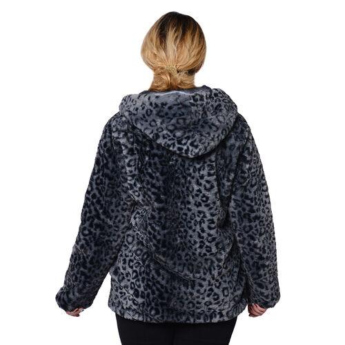 DOD - Super Soft Faux Fur Leopard Pattern Coat in Grey (Size XXL)