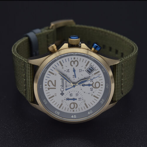 Columbia Canyon Ridge Stone Chronograph Date Olive Nylon Watch