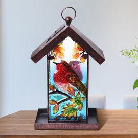 Garden Theme Handmade Solar Lantern Bird Feeder (Size 18x14x33cm) - Robin