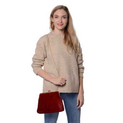 Burgundy Faux Fur Clutch Closure Crossbody Bag (Size: 23x10x18cm) with Chain Shoulder Strap (L: 120cm) in Gold Tone