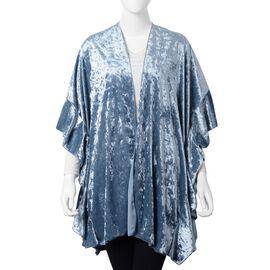 Blue Textured Velvet Kimono (One Size)