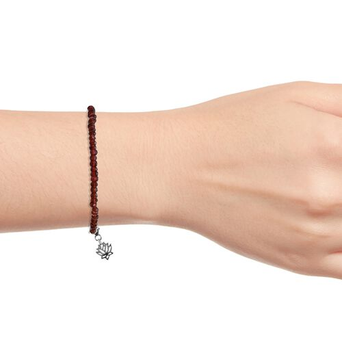 Mozambique Garnet (Rnd) Beads Bracelet (Size 7.5) with Lotus Charm in Platinum Overlay Sterling Silver 18.400 Ct.