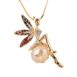 White Austrian Crystal (Rnd), Simulated Champagne Diamond Enamelled Fairy Necklace (Size 29 with 2.5