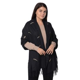 Plume Pattern Embroidery Winter Scarf with Tassels (Size 190.5x76.2 Cm) - Black