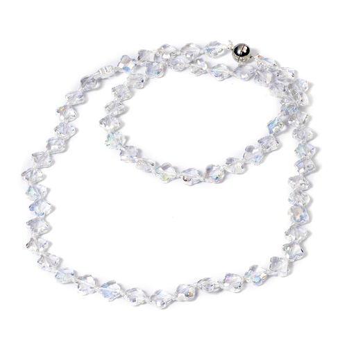 2 Piece Set -  Simulated AB Crystal Necklace (Size 35 with Magnetic Lock) and Bracelet (Size 6.5) in Stainless Steel