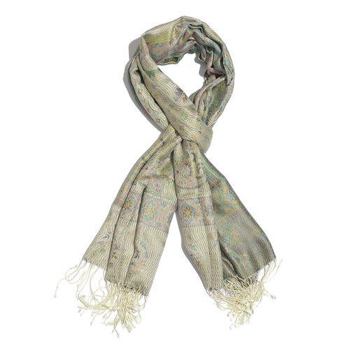 SILK MARK - 100% Superfine Silk Lime Green Colour Floral and Leaves Pattern Multi Colour Jacquard Ja