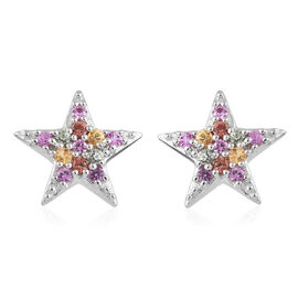WEBEX- Multi Gem Stone Platinum Overlay Sterling Silver Earring (with Push Back) 0.750  Ct.