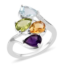 Hebei Peridot (Pear), Citrine, Amethyst and Sky Blue Topaz Bypass Ring in Sterling Silver 2.75 Ct.