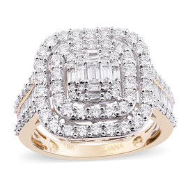 Auction Of The Month - ILIANA 18K Yellow Gold IGI Certified Diamond (Rnd and Bgt) (SI/G-H) Cluster R