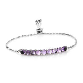 Amethyst (Rnd) Bolo Bracelet (Size 6.5 - 9.5 Adjustable) in Silver Plated  5.000 Ct.
