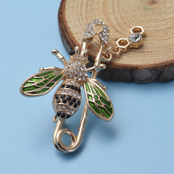 Black and White Austrian Crystal Enamelled Bee Brooch in Gold Tone