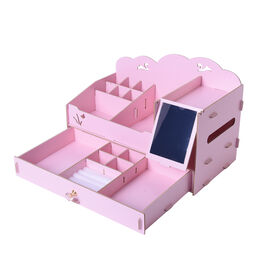 DIY Jewellery and Cosmetic Organiser with Mirror (36x19.5x23cm) - Light Pink