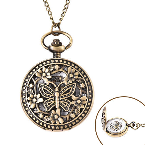 GENOA Automatic Mechanical Hollow-Out Butterfly and Flowers Pattern Pocket Watch with Chain in Antiq