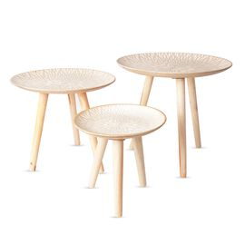 Set of 3 MDF Round Tea Table with Lotus Chakra Pattern in Different Sizes L 44x42 Cm, M 40x36 Cm and