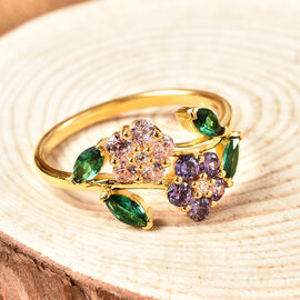 ELANZA Simulated Multi Colour Diamond Flower Ring in Yellow Gold Overlay Sterling Silver