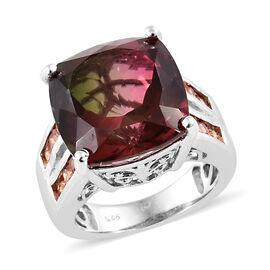 Finch Quartz (Cush 14x14 mm), Orange Sapphire Ring (Size N) in Platinum Overlay Sterling Silver 13.500 Ct, Si