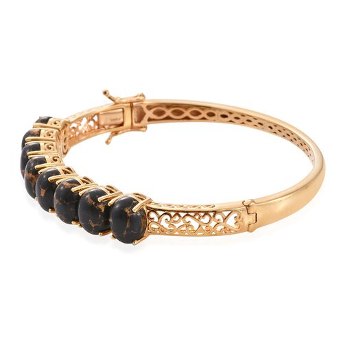Arizona Mojave Black Turquoise (Ovl) Bangle (Size 7.5) in 14K Gold Overlay Sterling Silver 18.000 Ct.