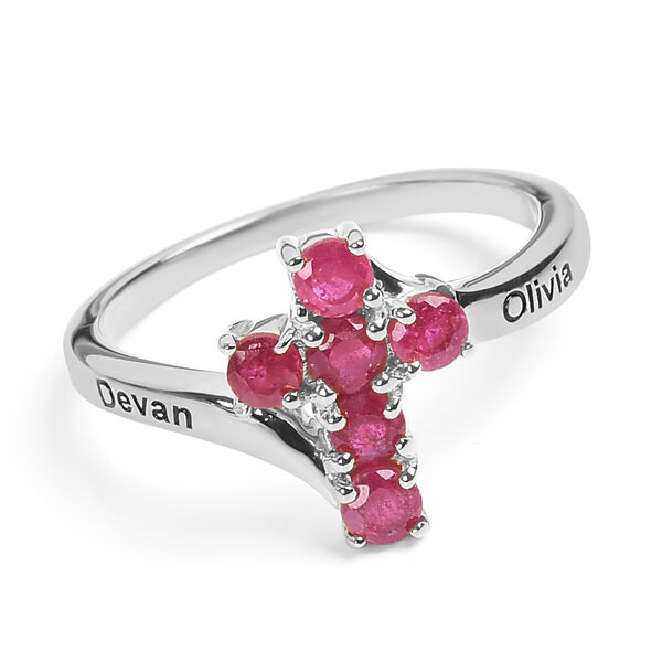 Personalised Engraved Ruby Cross Ring in Silver