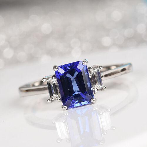 RHAPSODY 950 Platinum AAAA Tanzanite and Diamond (VS/E-F) Ring 1.10 Ct.