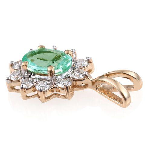 ILIANA 18K Y Gold AAA Boyaca Colombian Emerald (Ovl 0.75 Ct), Diamond (SI/G-H) Pendant 1.000 Ct.